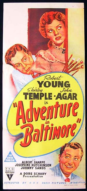 Adventure in Baltimore, Richard Wallace, Robert Young, Shirley Temple, John Agar, Albert Sharpe