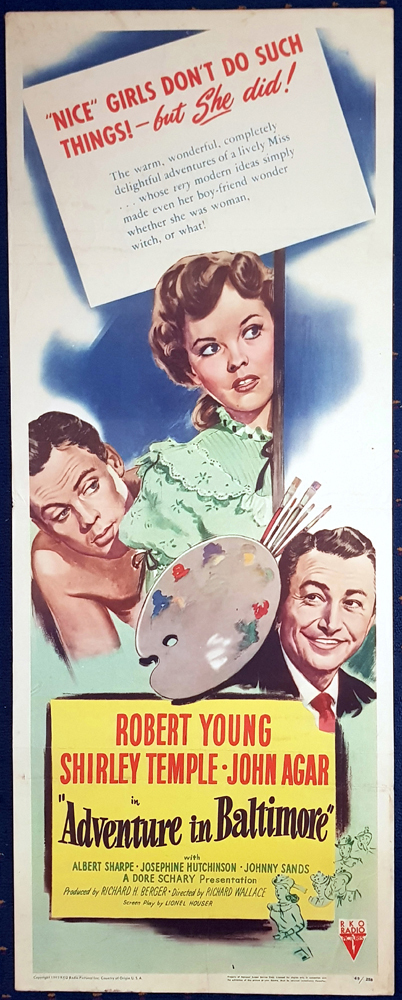 ADVENTURE IN BALTIMORE Original US Insert Movie Poster Robert Young Shirley Temple