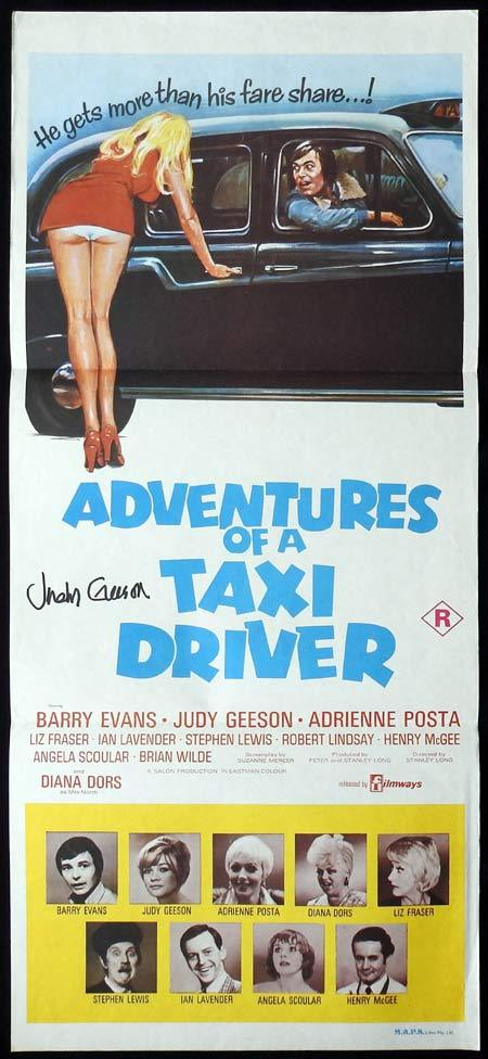 ADVENTURES OF A TAXI DRIVER Original Daybill Movie Poster Autographed by Judy Geeson