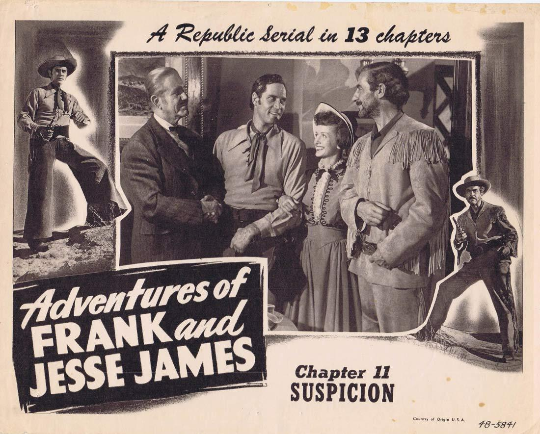 ADVENTURES OF FRANK AND JESSE JAMES Original Lobby Card Chapter 11 Republic Serial Clayton Moore