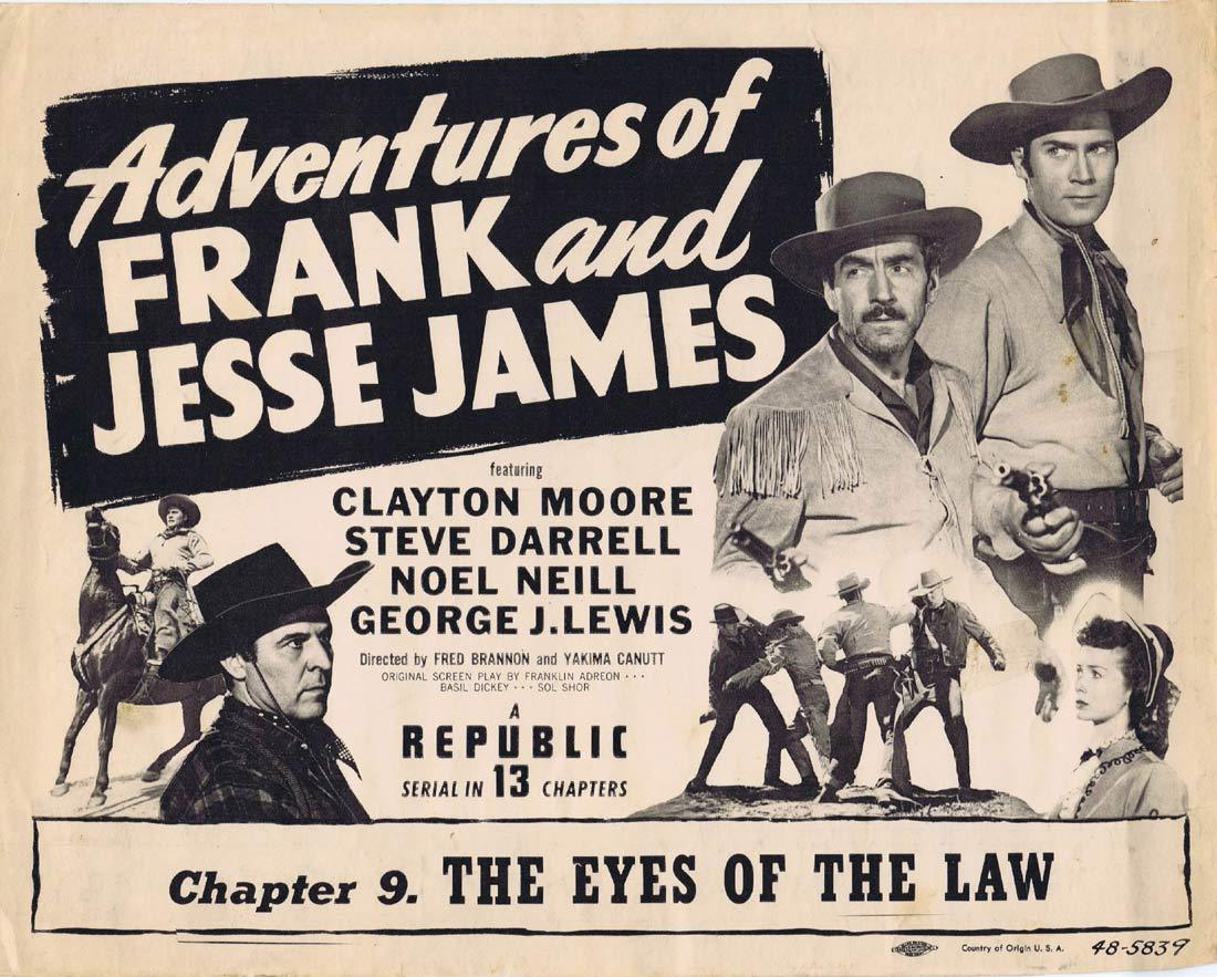 ADVENTURES OF FRANK AND JESSE JAMES Original Title Lobby Card Chapter 9 Republic Serial Clayton Moore