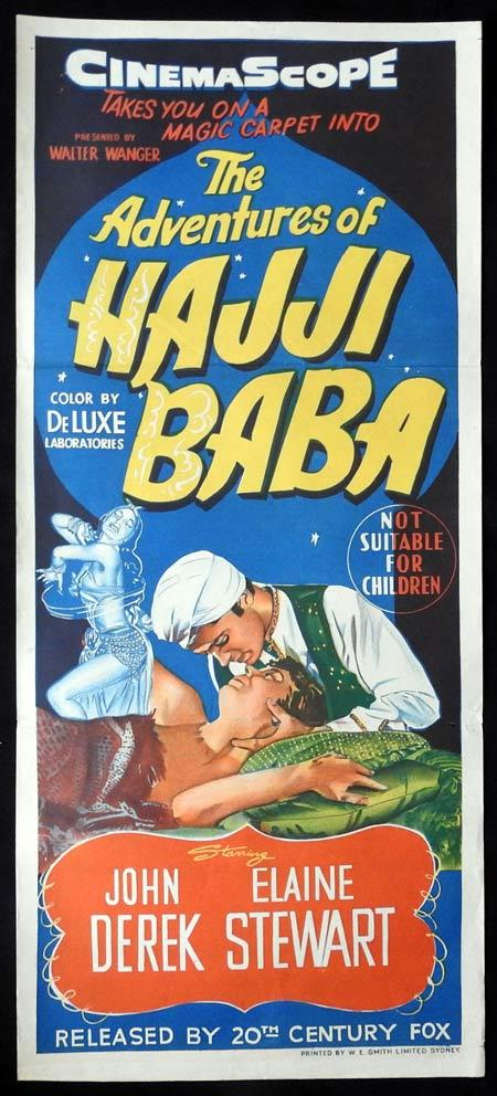 THE ADVENTURES OF HAJI BABA Original daybill Movie Poster John Derek Elaine Stewart Thomas Gomez