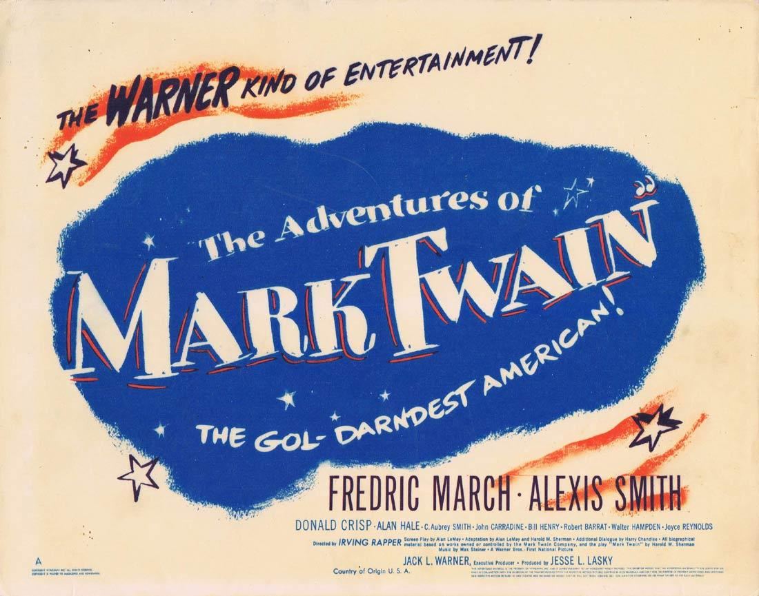 THE ADVENTURES OF MARK TWAIN Title Lobby Card Fredric March Alexis Smith