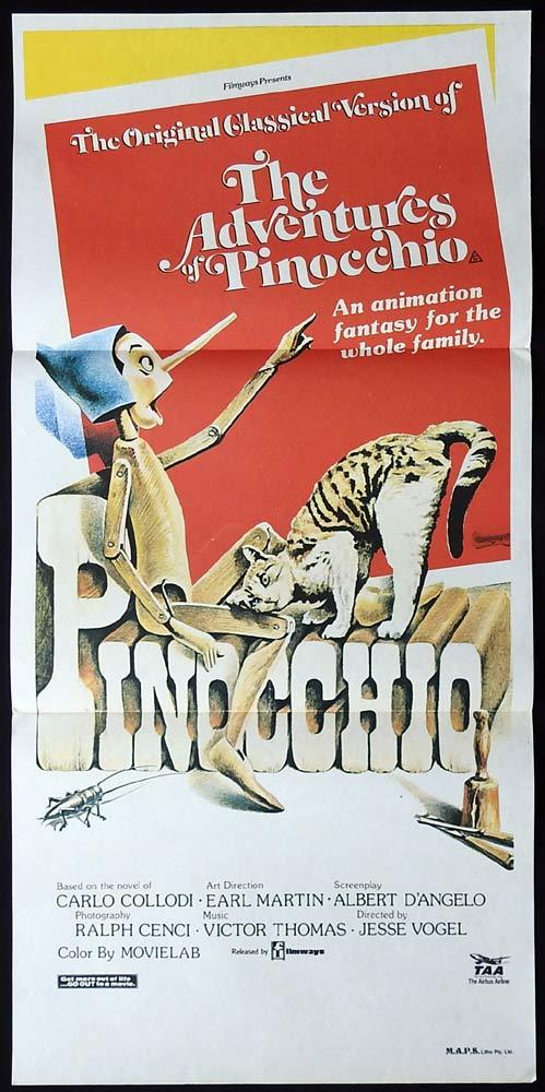 THE ADVENTURES OF PINOCCHIO Original Daybill Movie Poster Gina Lollobrigida
