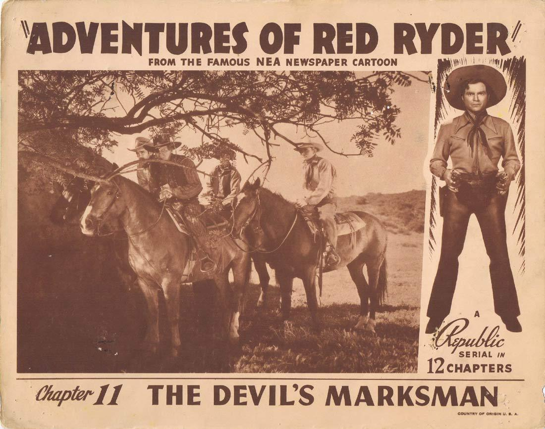 "ADVENTURES OF RED RYDER Lobby Card 2 Chapter 11 Don ""Red"" Barry"