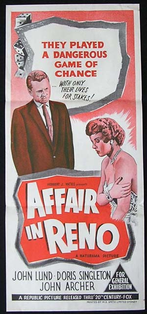 AFFAIR IN RENO Original Daybill Movie poster John Lund Gambling