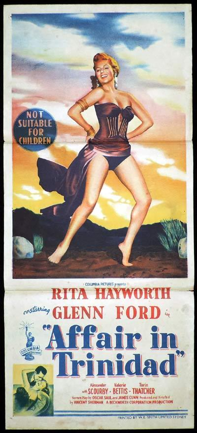 AFFAIR IN TRINIDAD Original Daybill Movie Poster Rita Hayworth Glenn Ford