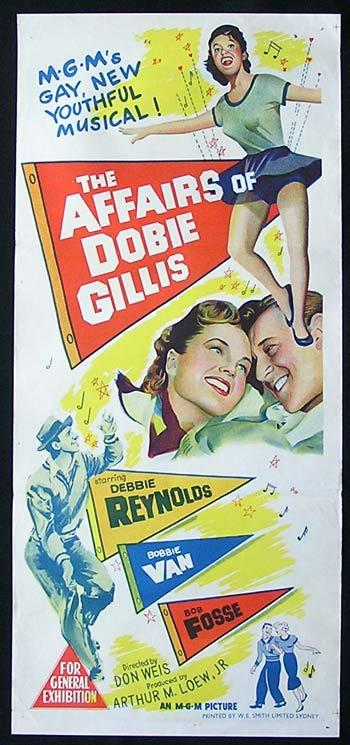 THE AFFAIRS OF DOBIE GILLIS Original Daybill Movie Poster Debbie Reynolds Bobbie Van