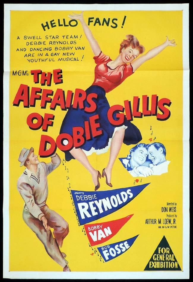 THE AFFAIRS OF DOBIE GILLIS Original One sheet Movie Poster Debbie Reynolds Bobby Van