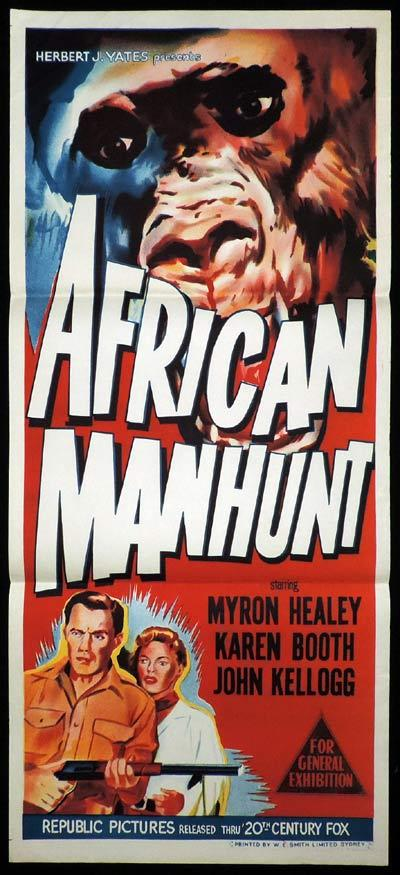 AFRICAN MANHUNT Original Daybill Movie Poster Gorilla Art Myron Healey Republic