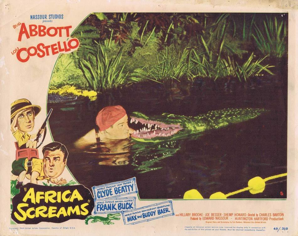 AFRICA SCREAMS Lobby card 5 Abbott and Costello Crocodile