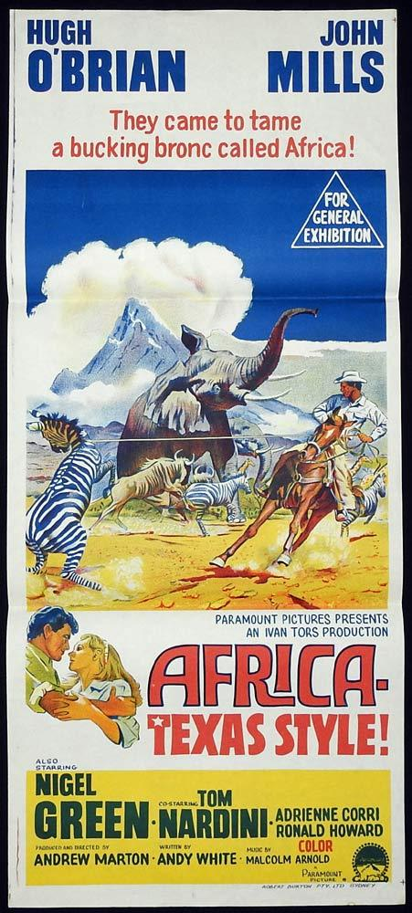 AFRICA TEXAS STYLE Original Daybill Movie Poster Hugh O'Brian John Mills Nigel Green