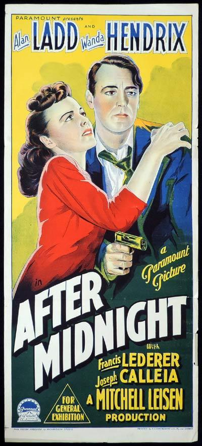 AFTER MIDNIGHT Daybill Movie Poster CAPTAIN CAREY Alan Ladd Richardson Studio