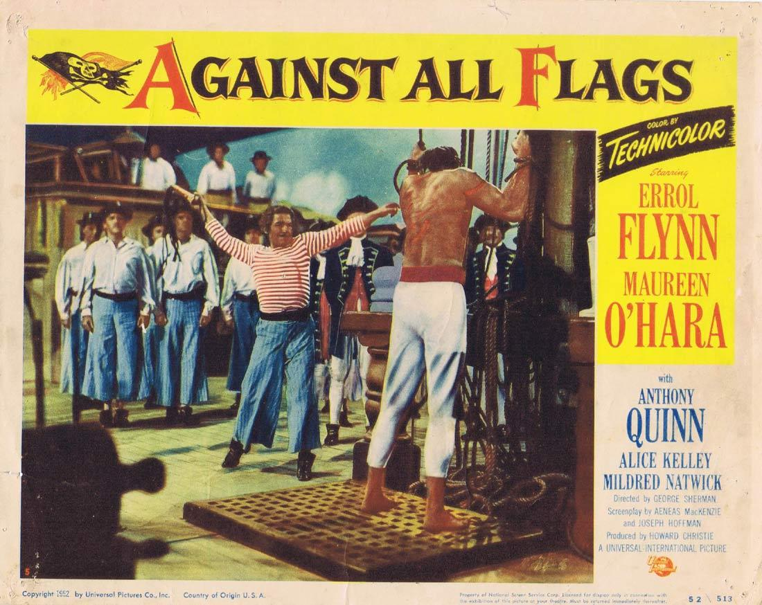 AGAINST ALL FLAGS Original Lobby Card 5 Errol Flynn Maureen O'Hara