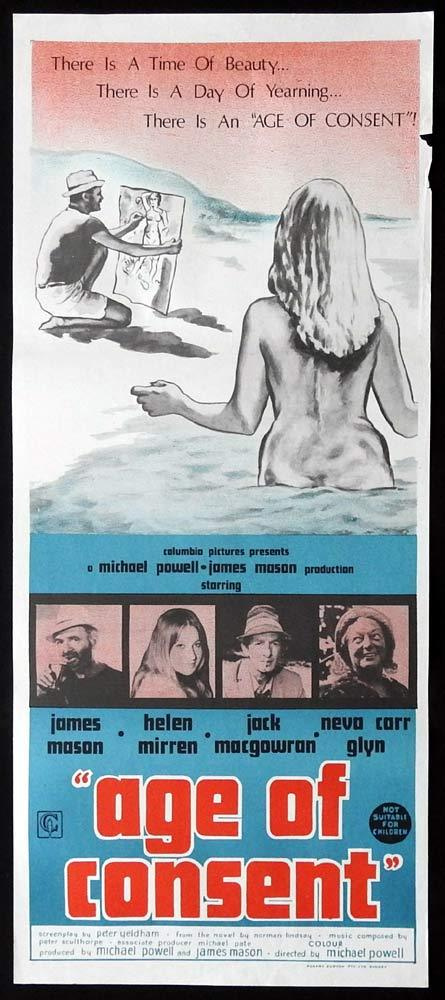 AGE OF CONSENT Daybill Movie Poster 1969 James Mason Helen Mirren