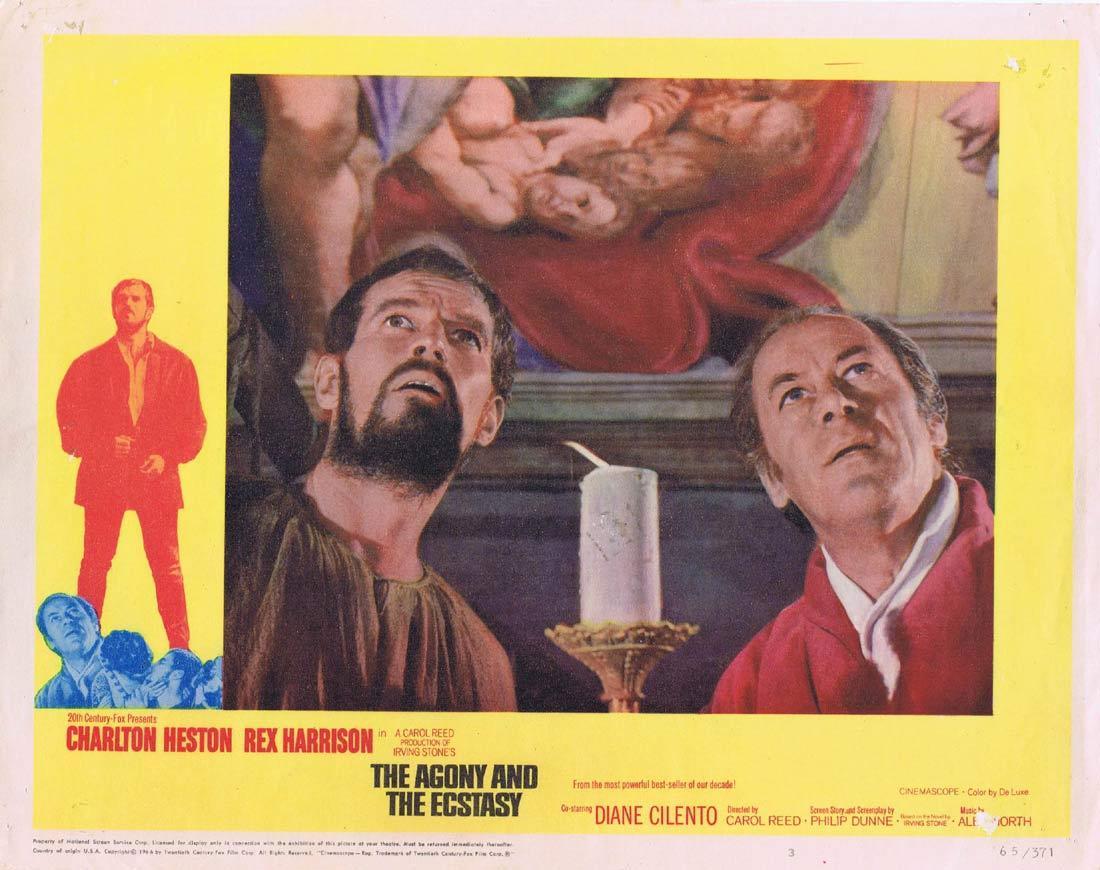 THE AGONY AND THE ECSTASY Original Lobby Card 3 Charlton Heston Rex Harrison Diane Cilento