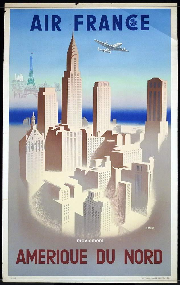 AIR FRANCE 1950 Airline Travel poster AMERIQUE DU NORD Jean Even