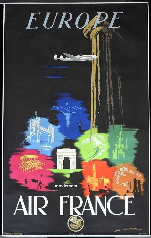 AIR FRANCE 1948 Airline Travel poster Europe Edmond Maurus