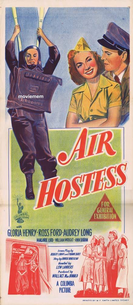 AIR HOSTESS Original Daybill Movie Poster Gloria Henry Flight Attendant