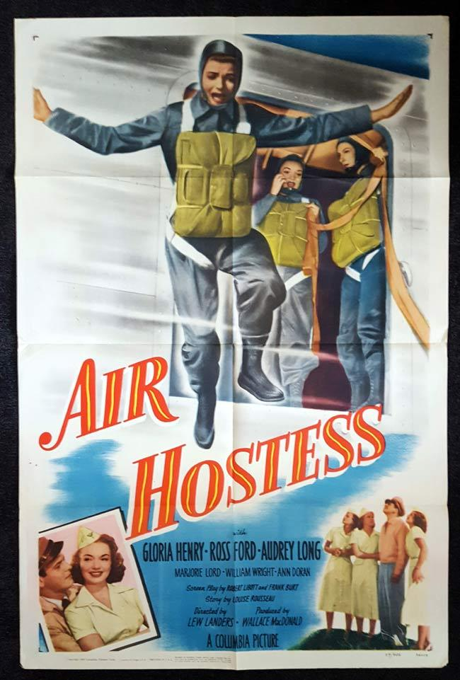 AIR HOSTESS One sheet Movie poster 1949 Gloria Henry Flight Attendant