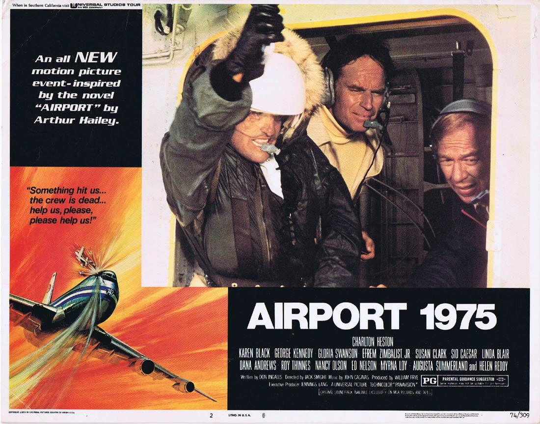 AIRPORT 1975 Original Lobby Card 2 Charlton Heston Karen Black