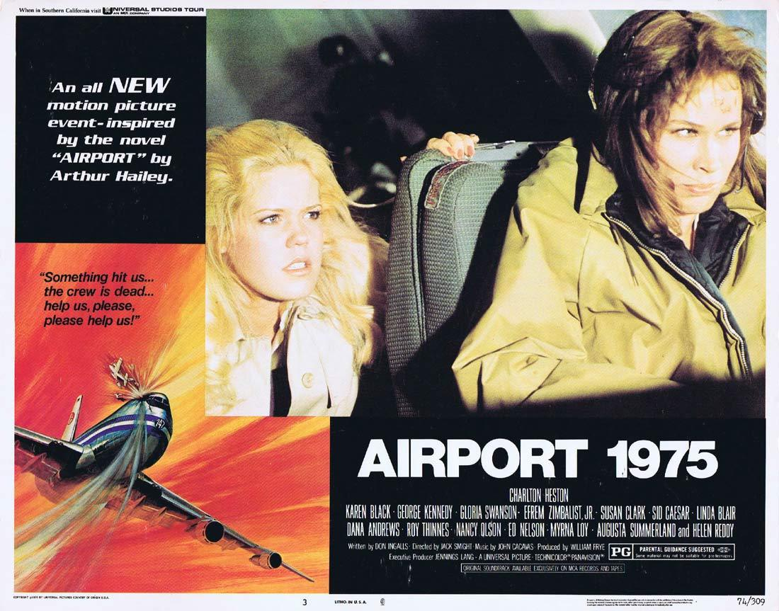 AIRPORT 1975 Original Lobby Card 3 Charlton Heston Karen Black