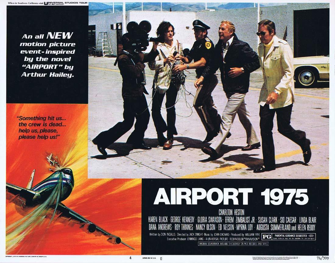 AIRPORT 1975 Original Lobby Card 4 Charlton Heston Karen Black