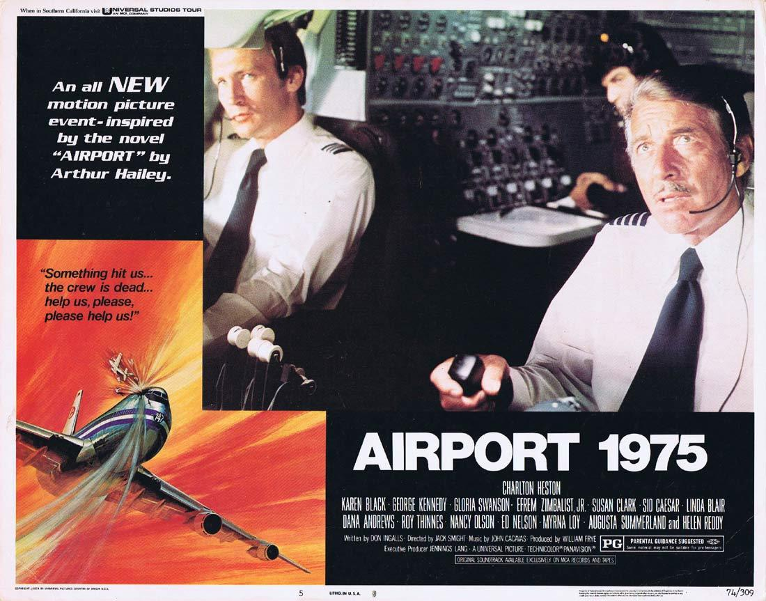 AIRPORT 1975 Original Lobby Card 5 Charlton Heston Karen Black