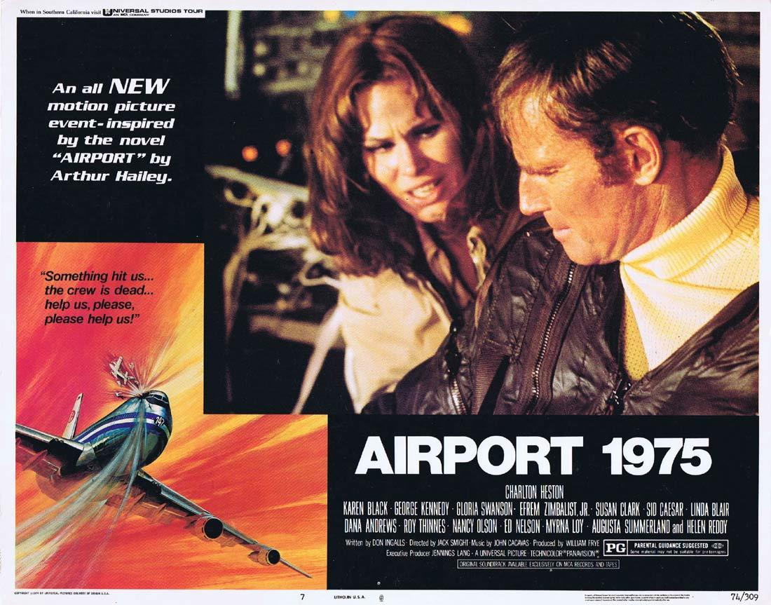 AIRPORT 1975 Original Lobby Card 7 Charlton Heston Karen Black