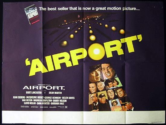 AIRPORT Original British Quad Movie poster Burt Lancaster Dean Martin