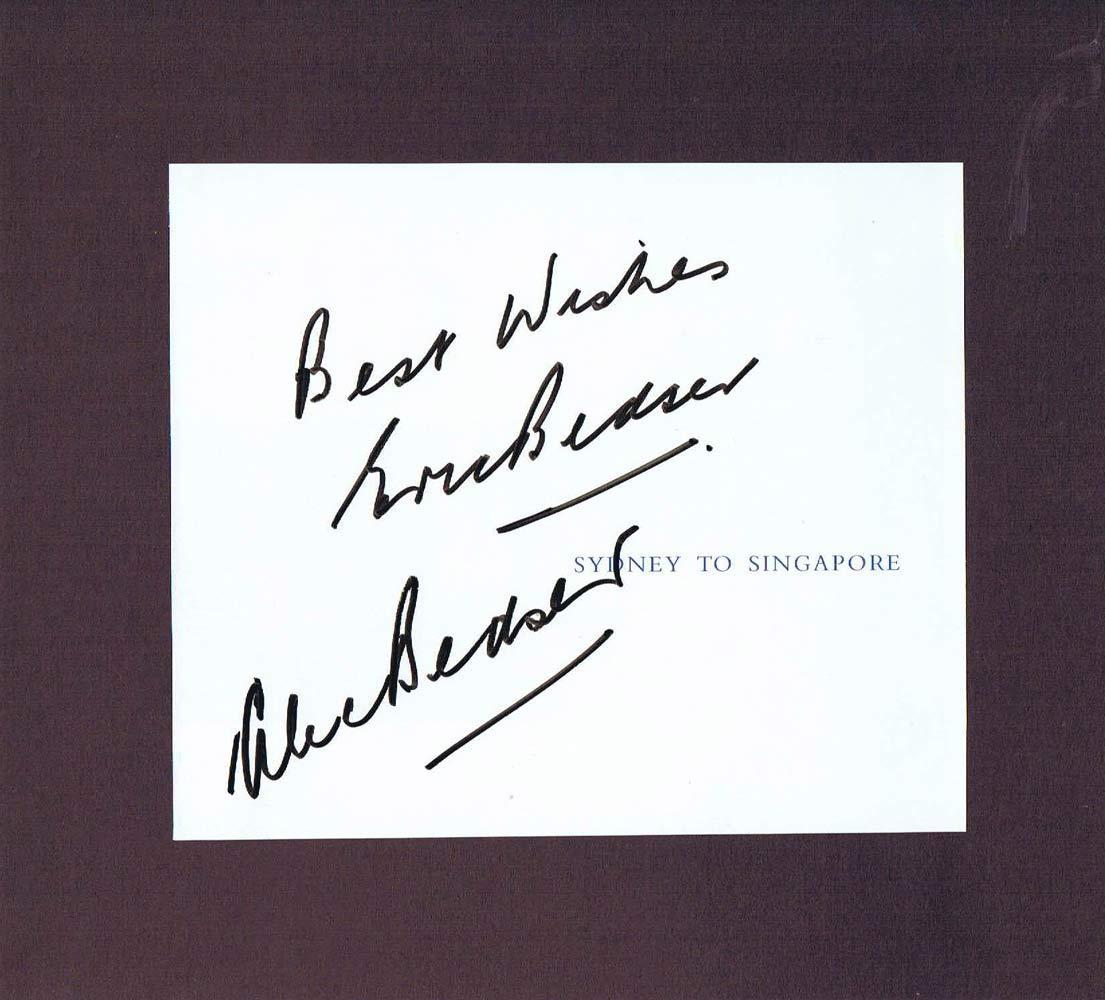 ALEC BEDSER ERIC BEDSER Autograph Qantas Menu page
