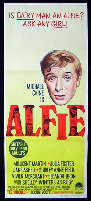 ALFIE Original daybill Movie poster Michael Caine
