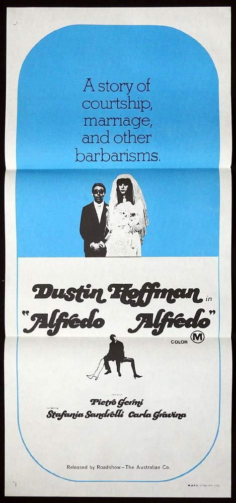ALFREDO ALFREDO Original Daybill Movie poster Dustin Hoffman Stefania Sandrelli