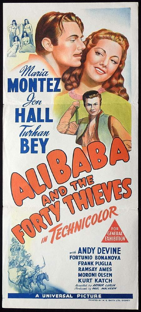 ALI BABA AND THE FORTY THIEVES Original Daybill Movie poster Maria Montez