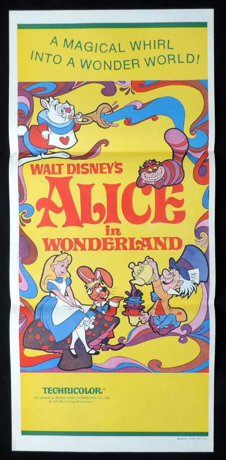 ALICE IN WONDERLAND Daybill Movie Poster '74r Disney classic