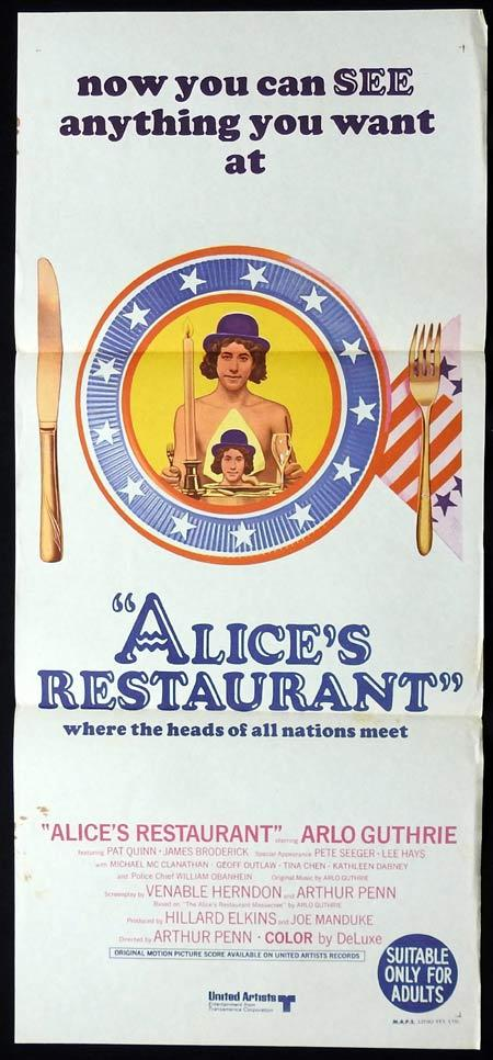 ALICE'S RESTAURANT Original Daybill Movie Poster Arlo Guthrie Pat Quinn