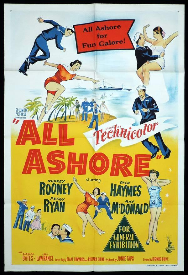 ALL ASHORE One Sheet Movie Peggy Ryan Poster Mickey Rooney