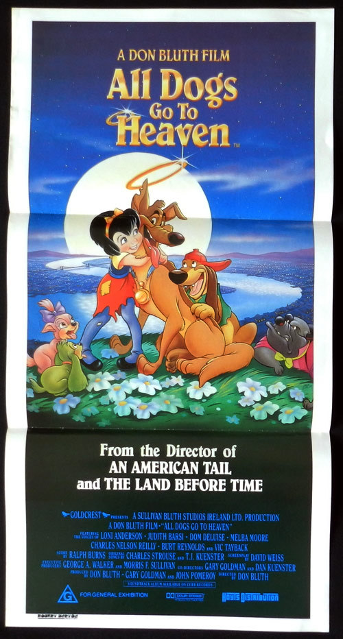 ALL DOGS GO TO HEAVEN Australian Daybill Movie poster Don Bluth