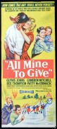 ALL MINE TO GIVE Daybill Movie poster 1957 Glynis Johns RARE