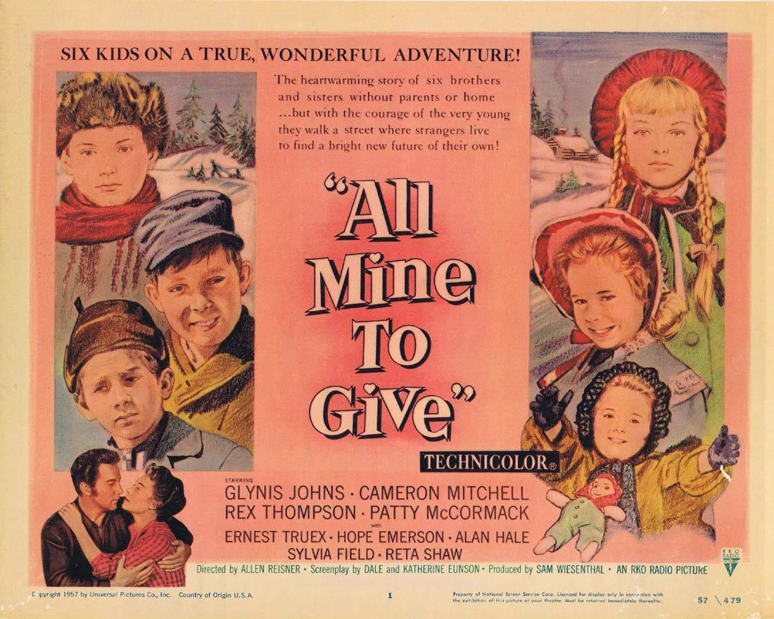 ALL MINE TO GIVE Lobby Card Glynis Johns Cameron Mitchell Rex Thompson