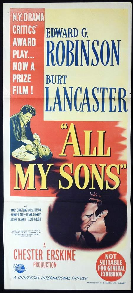 ALL MY SONS Movie poster Edward G Robinson Burt Lancaster