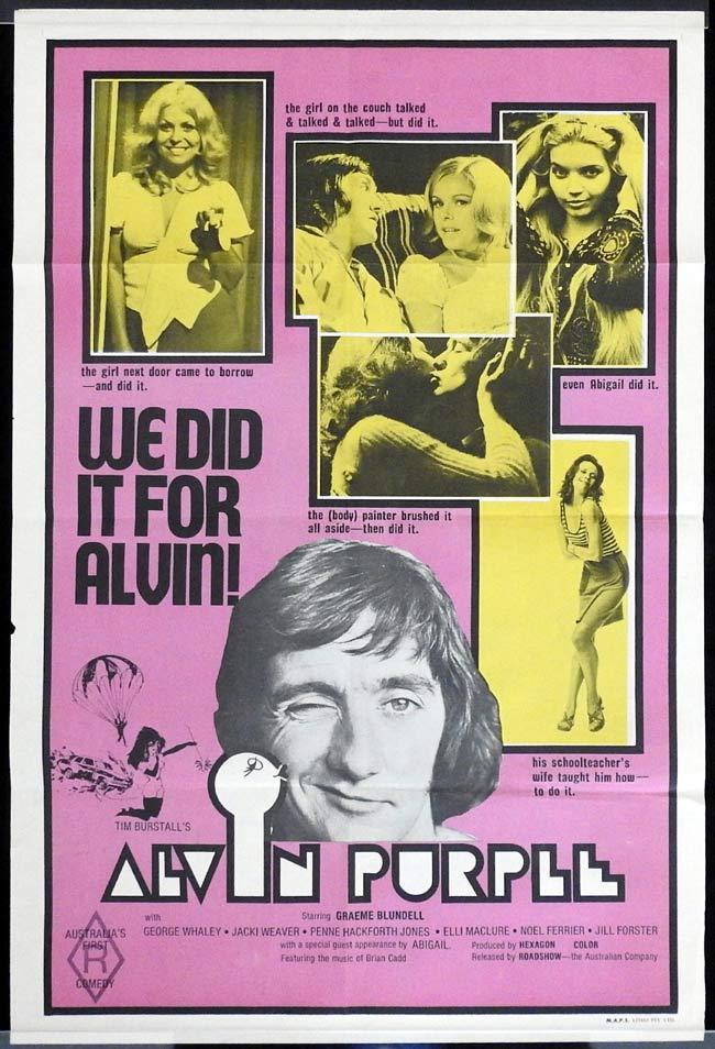 ALVIN PURPLE Original One sheet Movie poster Graeme Blundell