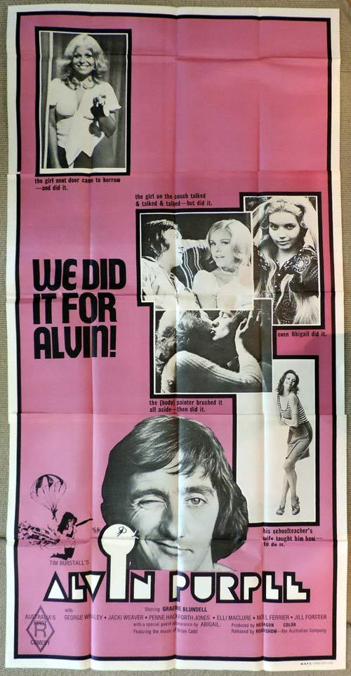 ALVIN PURPLE Original 3 sheet Movie Poster Graeme Blundell