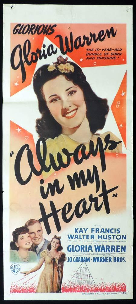 ALWAYS IN MY HEART Daybill Movie poster KAY FRANCIS Walter Huston