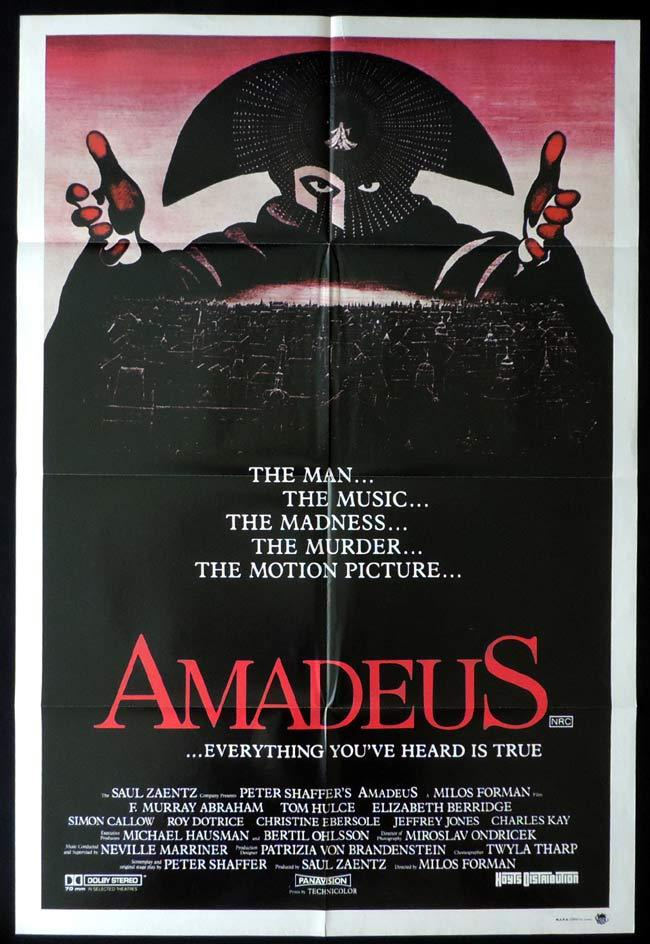 AMADEUS Original One sheet Movie poster F. Murray Abraham Mozart