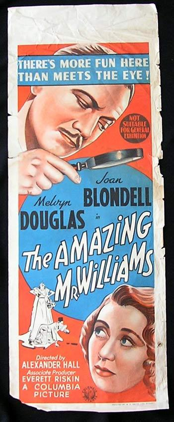 AMAZING MR WILLIAMS Long Daybill Movie Poster 1939 Joan Blondell