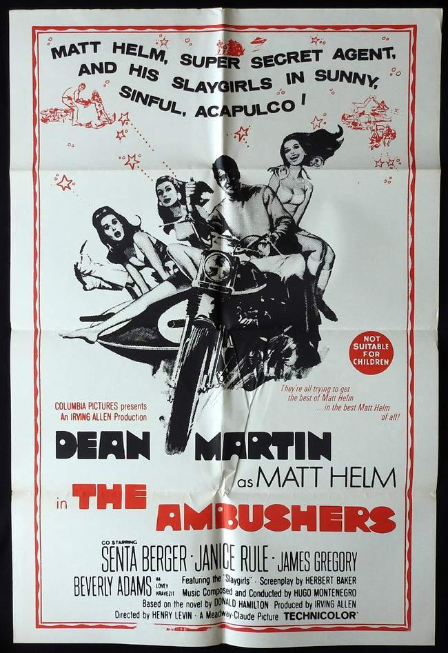 THE AMBUSHERS Original One sheet Movie Poster Dean Martin Senta Berger