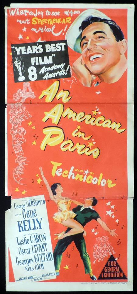 AN AMERICAN IN PARIS Daybill Movie Poster Gene Kelly