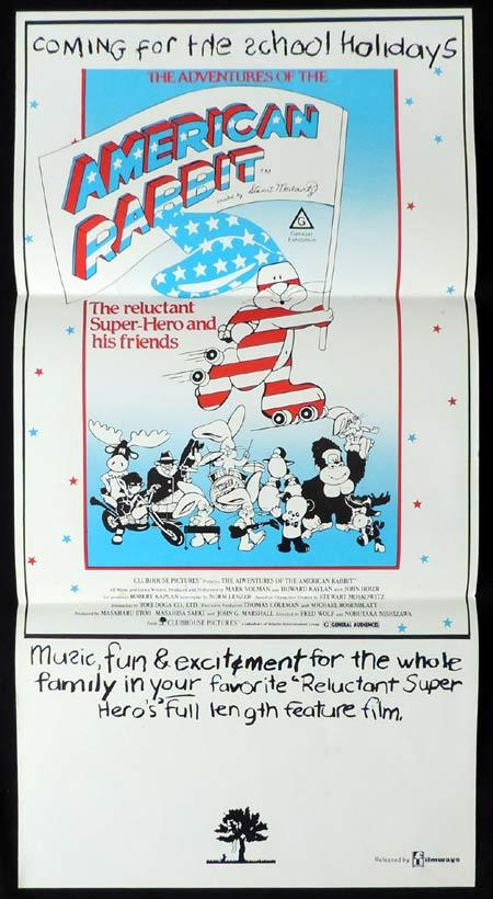 ADVENTURES OF THE AMERICAN RABBIT Daybill Movie poster Bob Arbogast