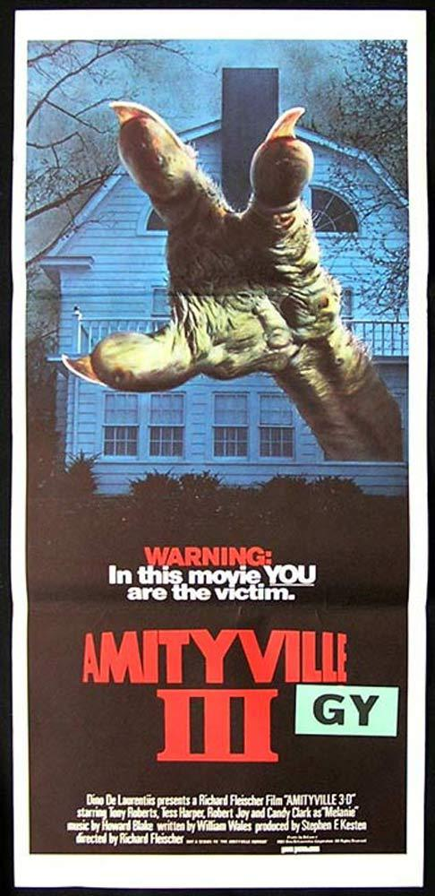 AMITYVILLE 3 1983 Horror 3 D daybill Movie poster Supernatural Demon Monster